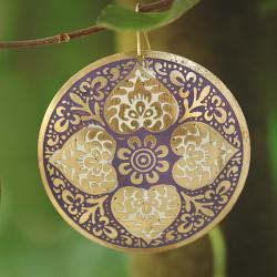Handcrafted Large Goldtone Purple Enamel Drop Earrings (India)