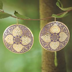 Handcrafted Large Goldtone Purple Enamel Drop Earrings (India)