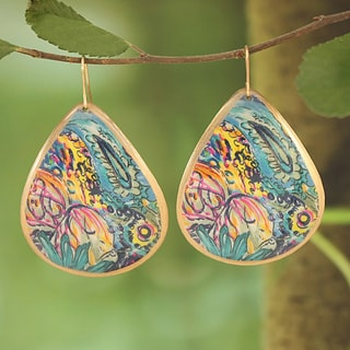 Handcrafted Goldtone & Blue Bright Enamel Teardrop Earrings (India)