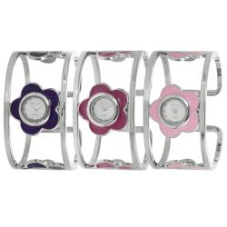 Geneva Platinum Women's Hinged Cuff Stainless-Steel Flower Watch