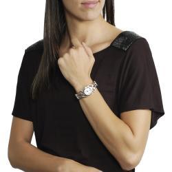 Geneva Platinum Women's Scroll Design Cuff Watch