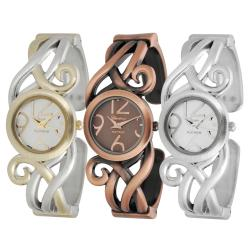 Geneva Platinum Women's Scroll Design Cuff Watch