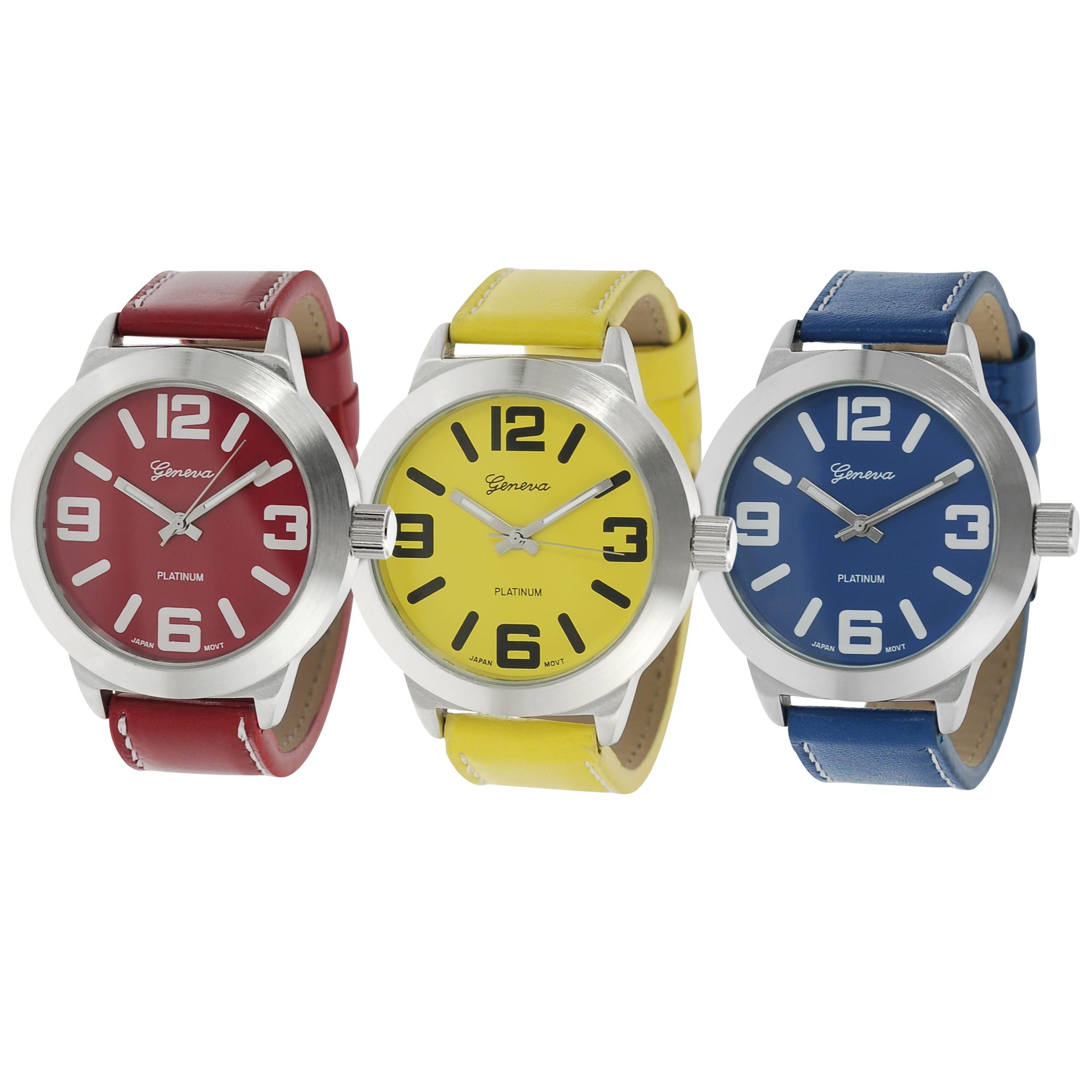 Geneva Platinum Women's White Stitching Strap Watch