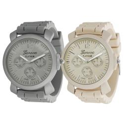 Geneva Platinum Women's Chronograph-Style Japanese-Quartz Silicone Watch