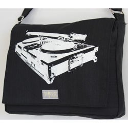 Two Tree Designs Handmade Medium Black Turntable Music Messenger Bag