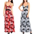 Stanzino Women's Spaghetti Strap Floral Maxi Dress with Bare Back Detail