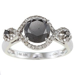 14k White Gold 2 1/2ct TDW Black and White Braided Diamond Ring (HI, SI1)