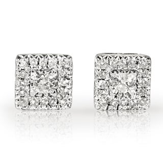 Annello 10k White Gold 1/6ct TDW Diamond Cluster Earrings (H-I, I1-I2)