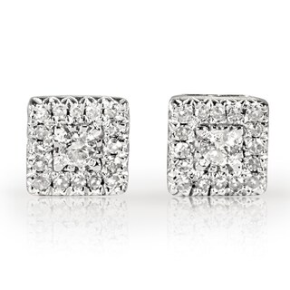 Annello 10k White Gold 1/6ct TDW Multi Stone Princess Diamond Earrings (H-I, I1-I2)