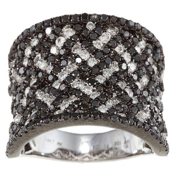 14k White Gold 2 7/8ct TDW Black and White Woven Diamond Ring (HI, SI1)