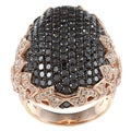 14k Rose Gold 3 1/6ct TDW Black and White Pave Fashion Diamond Ring (HI, I1)
