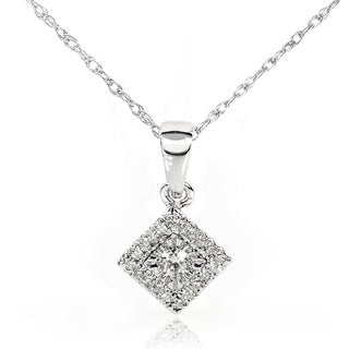 Annello 10k White Gold 1/10ct TDW Diamond Cluster Halo Necklace (H-I, I1-I2)