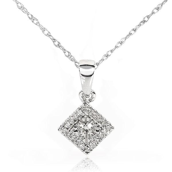 Annello 10k/14k White Gold 1/10ct TDW Multi-stone Princess Diamond Necklace (H-I, I1-I2)