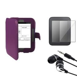 Purple Case/ Screen Protector/ Headset for Barnes & Noble Nook 2