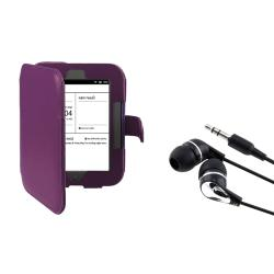 INSTEN Purple Leather Phone Case Cover/ Headset for Barnes & Noble Nook 2