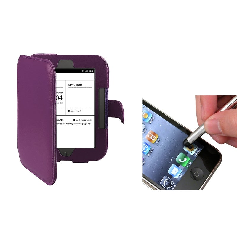 INSTEN Purple Leather Phone Case Cover/ Silver Stylus for Barnes & Noble Nook 2