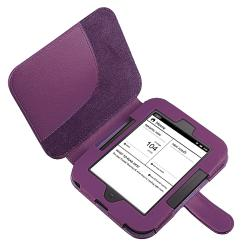 Purple Leather Case/ Silver Stylus for Barnes & Noble Nook 2