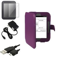 Purple Case/ LCD Protector/ Charger/ Cable for Barnes & Noble Nook 2
