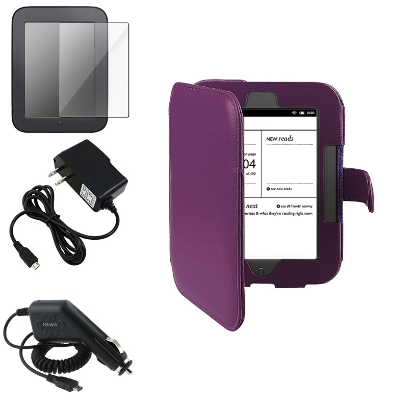 INSTEN Purple Case Cover/ Screen Protector/ Chargers for Barnes & Noble Nook 2