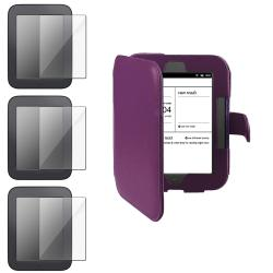 INSTEN Purple Leather Carrying Phone Case Cover/ Screen Protector for Barnes & Noble Nook 2