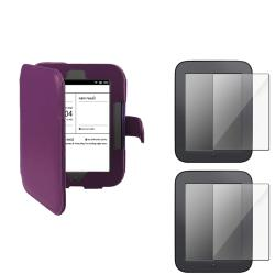 INSTEN Purple Leather Phone Case Cover/ Screen Protector for Barnes & Noble Nook 2