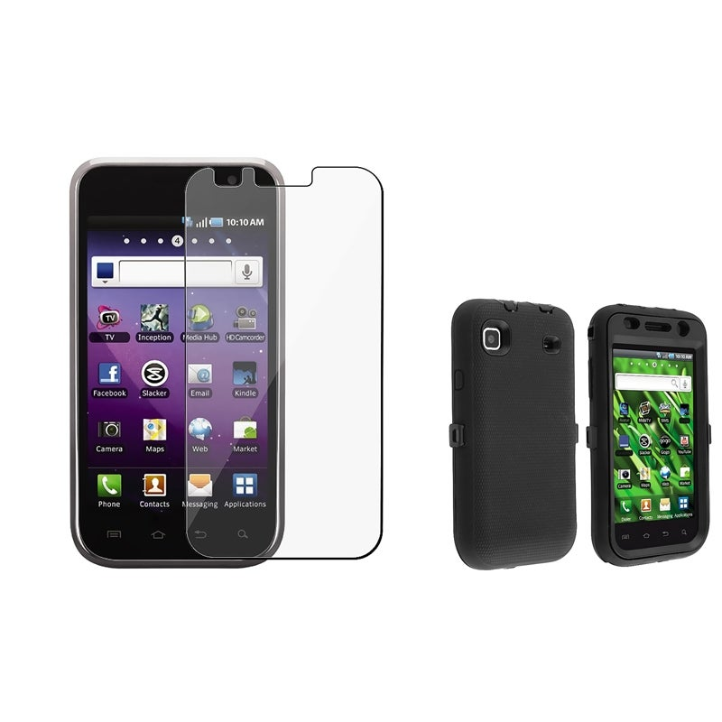 INSTEN Black Hybrid Phone Case Cover/ Screen Protector for Samsung Galaxy S 4G SGH-T959V
