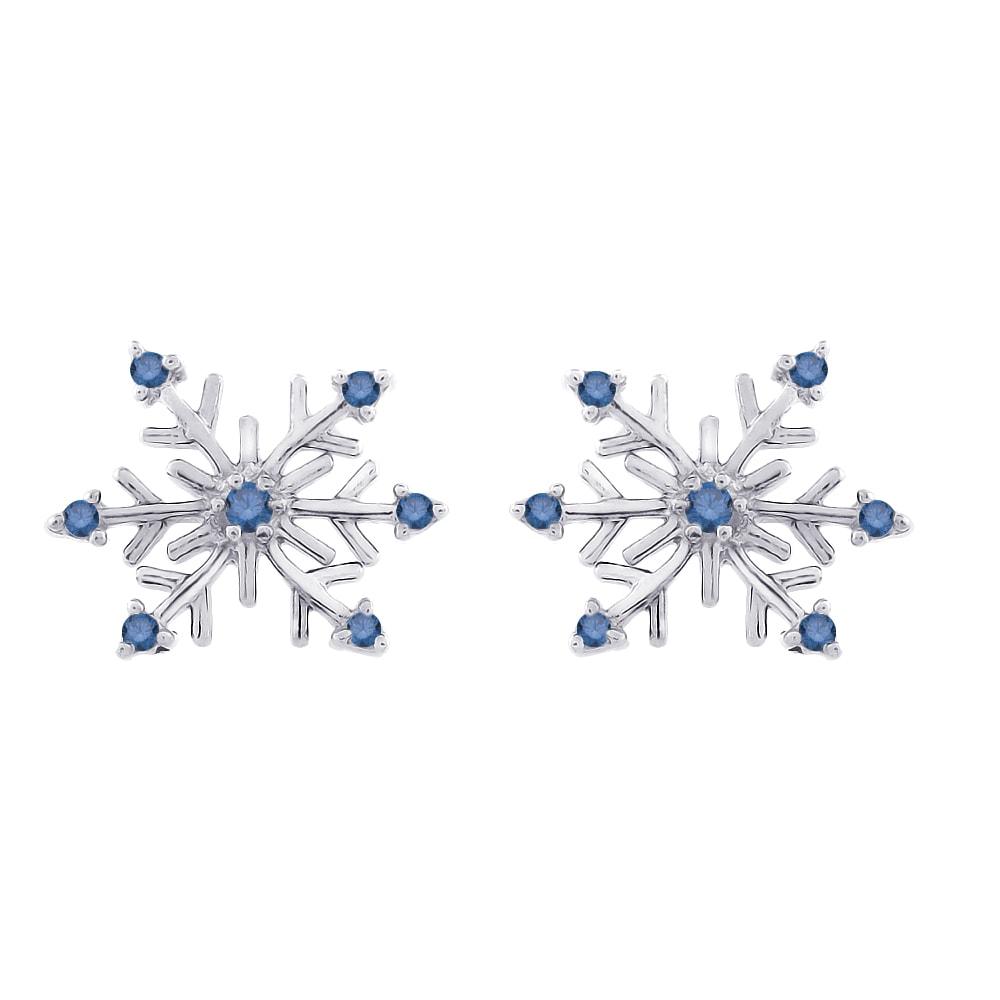 14k White Gold 1/8ct TDW Blue Diamond Snowflake Earrings