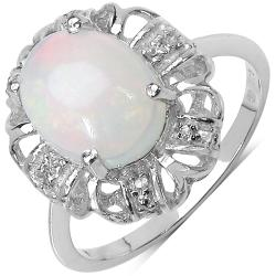 Malaika Sterling Silver 1.34ct Ethiopian Opal and White Topaz Ring