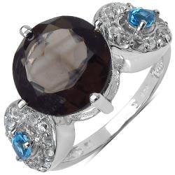 Malaika Sterling Silver 5.21ct Smokey, Blue and White Topaz Ring