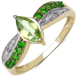 Malaika Sterling Silver Peridot and White Topaz Ring
