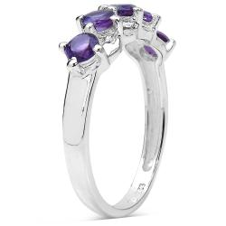 Malaika Sterling Silver 3/4ct Amethyst Ring