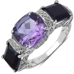 Malaika Sterling Silver Amethyst and Black Onyx Ring