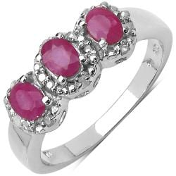 Malaika Sterling Silver Ruby and Diamond Ring