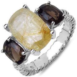 Malaika Sterling Silver Golden Rutile and Smoky Topaz Ring