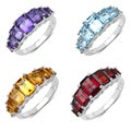 Malaika Sterling Silver Amethyst, Blue Topaz or Citrine Ring