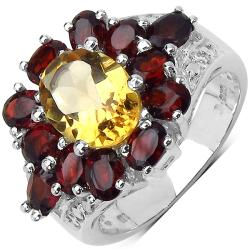 Malaika Sterling Silver 4.80ct TDW Citrine and Garnet Ring