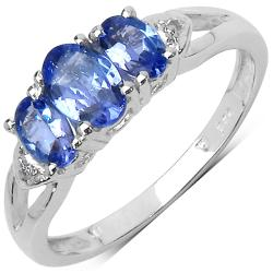 Malaika Sterling Silver 0.95ct TDW Tanzanite and White Topaz Ring