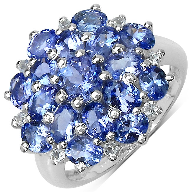 Malaika Sterling Silver Round-cut Tanzanite and White Topaz Ring