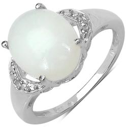 Malaika Sterling Silver Ethiopian Opal and White Topaz Ring