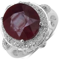 Malaika Sterling Silver 8.64ct TDW Ruby and White Topaz Ring