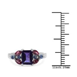 Malaika Sterling Silver 1.5ct TDW Amethyst, Rhodolite and Tanzanite Ring