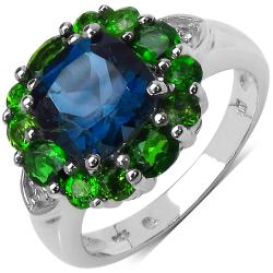 Malaika Sterling Silver 3.84ct TDW Blue Topaz, Chrome Diopside and White Topaz Ring