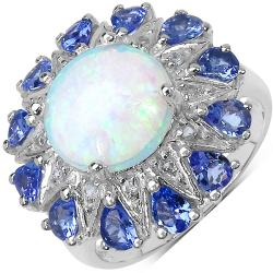 Malaika Sterling Silver 4.26ct TDW Ethiopian Opal, Tanzanite and White Topaz Ring