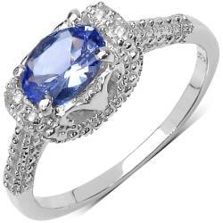 Malaika Sterling Silver 0.79ct TDW Tanzanite and White Sapphire Ring