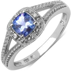 Malaika Sterling Silver 0.57ct TDW Tanzanite and Diamond Ring