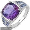 Malaika Sterling Silver Amethyst or Blue Topaz and Tanzanite Ring
