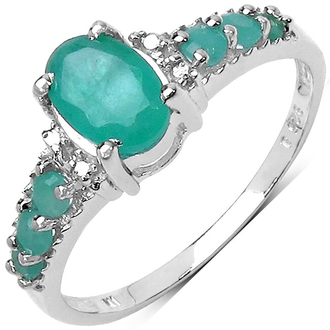 Malaika Sterling Silver 1.20ct TDW Emerald and White Topaz Ring