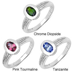 Malaika Sterling Silver 0.47ct TDW Chrome Diopside Ring
