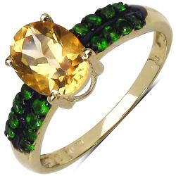Malaika Yellow Gold Overlay Sterling Silver 1.52ct TDW Citrine and Chrome Diopside Ring