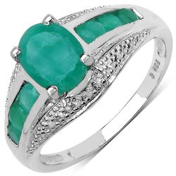 Malaika Sterling Silver 1.70ct TDW Emerald Ring